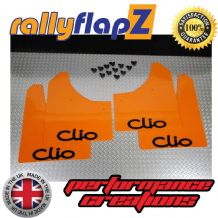 CLIO MK3 (2005-2012) ORANGE MUDFLAPS (Logo Black)